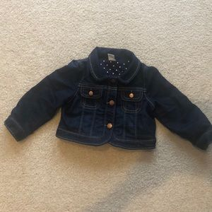 Baby Gap jean jacket with navy polka dot lining